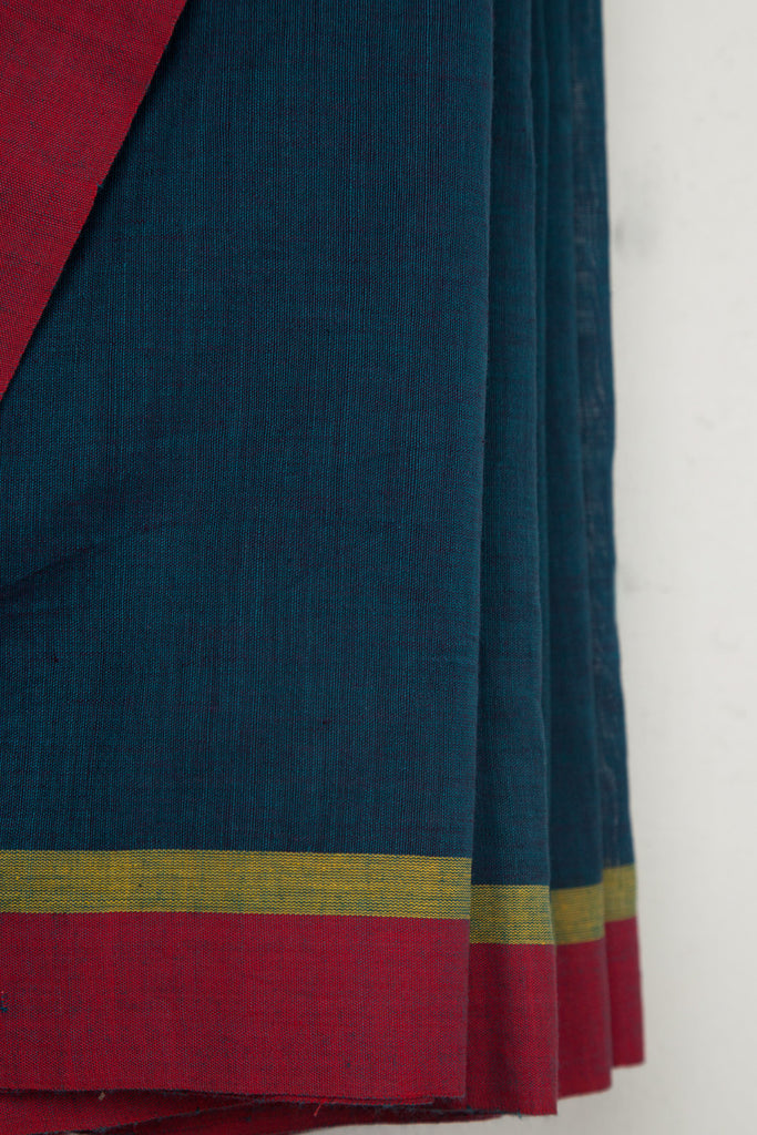 Dark Sea Green Saree with Cheerful Border