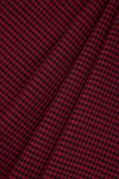 Red Black Checkered Linen by Cotton Saree