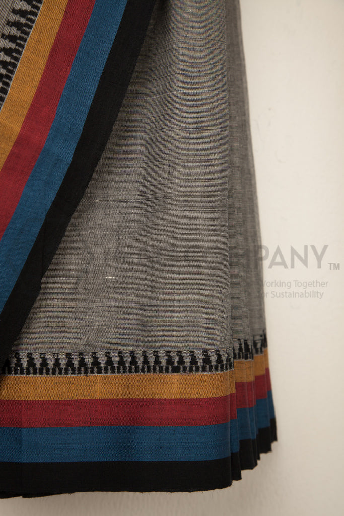 Grey Saree with Triangle Motifs
