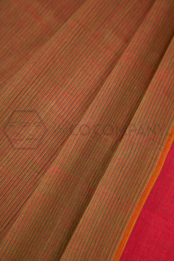 Green Red Cotton Saree