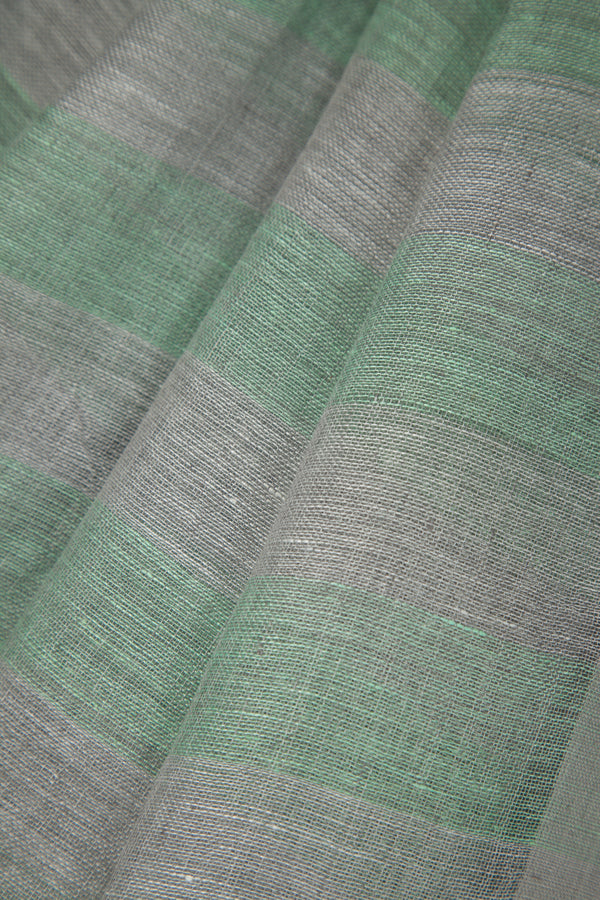Linen Saree with Vertical Bands of Grey and Green
