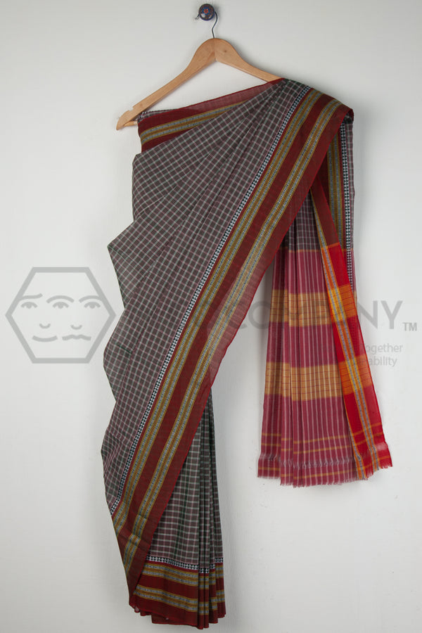 Grey Checkered Saree