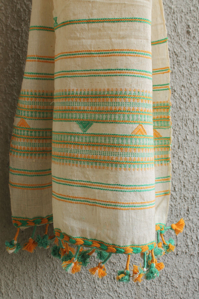 Kora Kutchhi Stole - Green Yellow