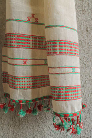 Kora Kutchhi Stole - Green Red