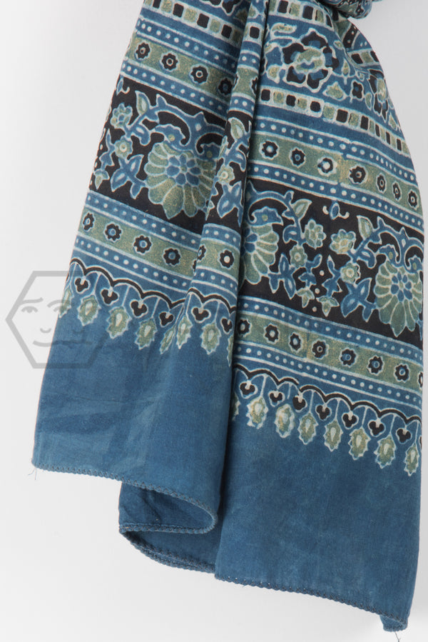 Ajrakh Print Stole on Blue Base