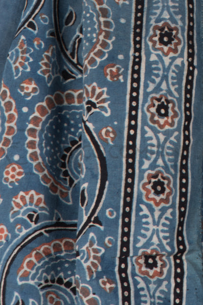 Ajrakh Print Stole on Black Base