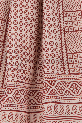 Red and OffWhite Bagh Print Stole