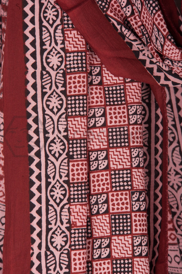 Bagh Print Black Cream and Red Stole