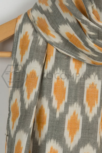 Light Grey Yellow Ikat Stole