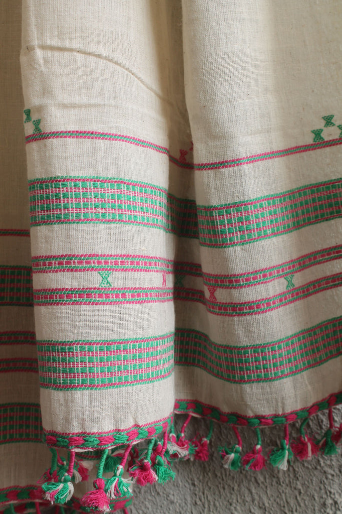 Kora Kutchhi Stole - Green and Pink