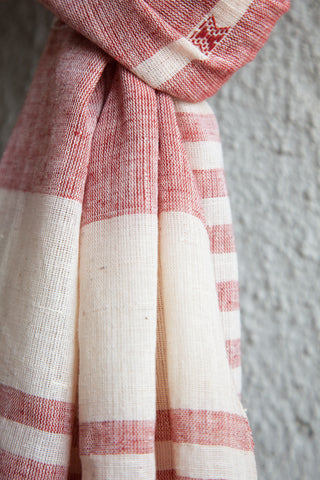 Red Offwhite Kala Cotton Stole