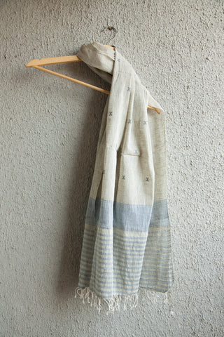 Grey Blue Kala Cotton Stole