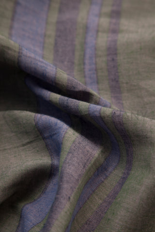 Grey Green Striped Cotton Fabric (per meter)