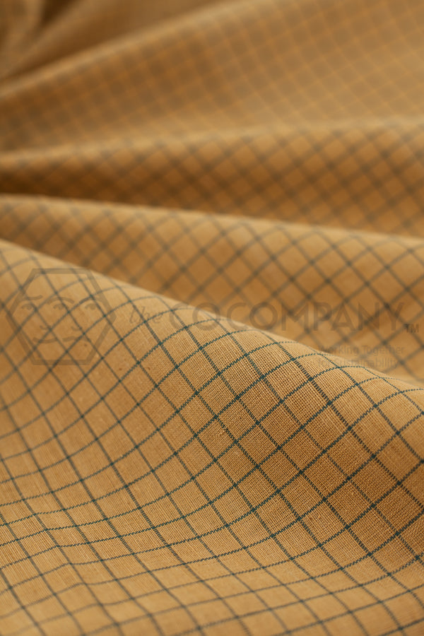 Natural Dye Checkered Khadi Fabric (per meter)