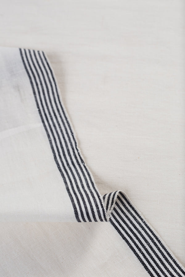 White Linen Fabric with Striped Border (per meter)