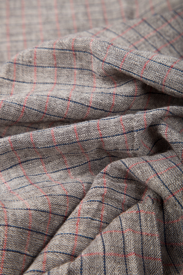 Grey Kala Cotton Fabric with blue and red criss cross lines (per meter)
