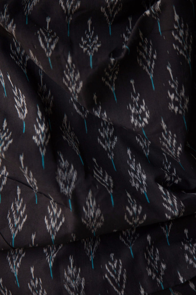 Black Ikat Fabric Tree Motifs (per meter)