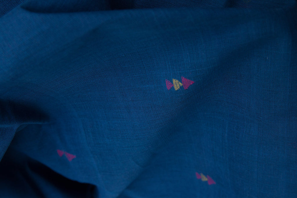 3 Jaamdani Triangles Pattern on Khadi Blue (per meter)