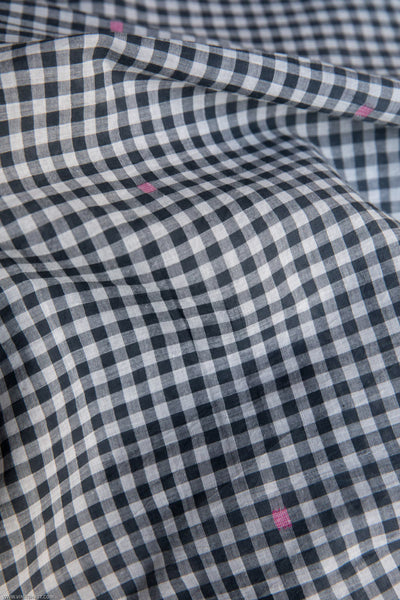 Checkered Fabric with Pink Booti (per meter)