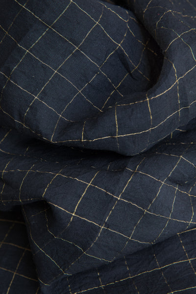 Checkered Black Linen Fabric (per meter)
