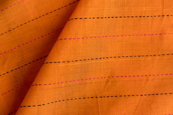 Yellow Orange Fabric with Broken Lines (per meter)
