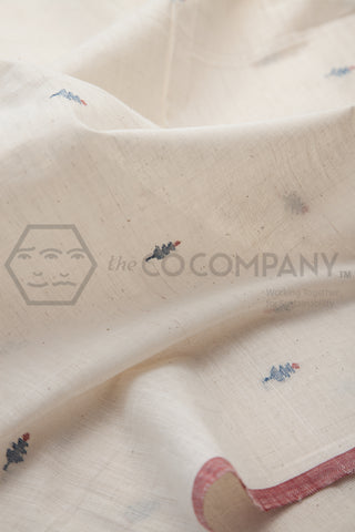 Tree Jaamdani on Kora Khadi Fabric (per meter)
