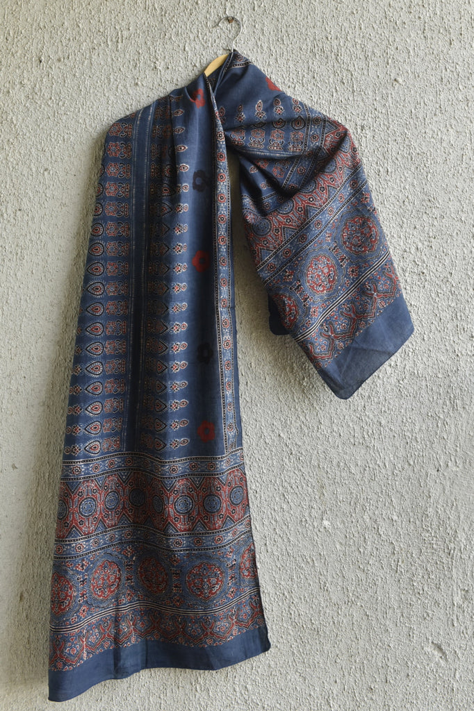 Red booti on Indigo Ajrakh stole