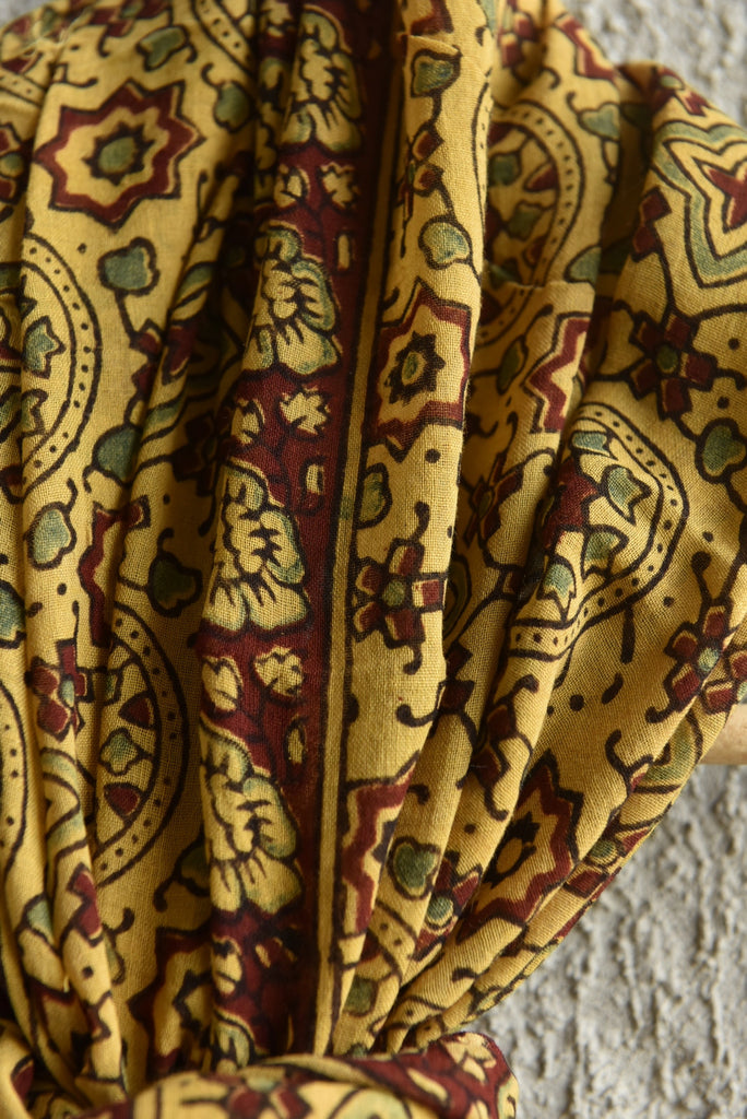 Mul Geometry on Yellow Ajrakh stole