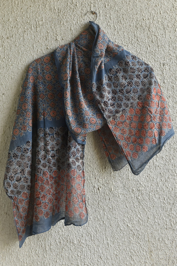 Starry German Indigo Ajrakh stole