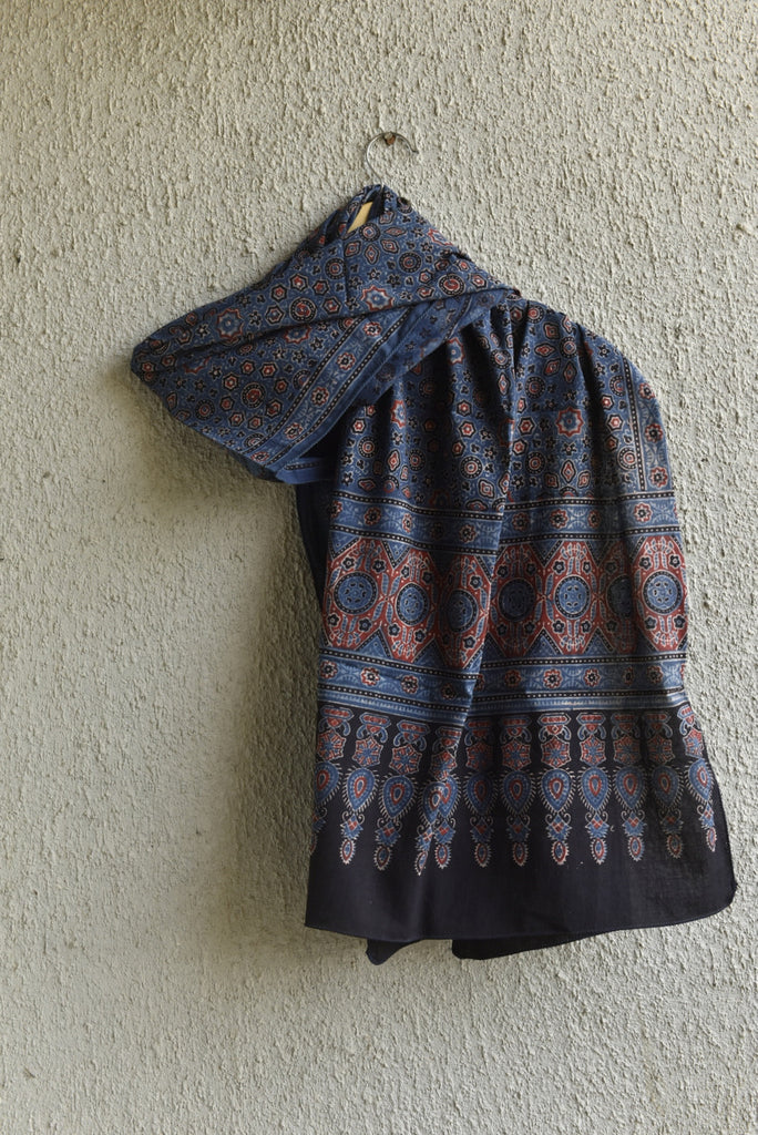 Geometry and Diamond on Indigo Ajrakh stole