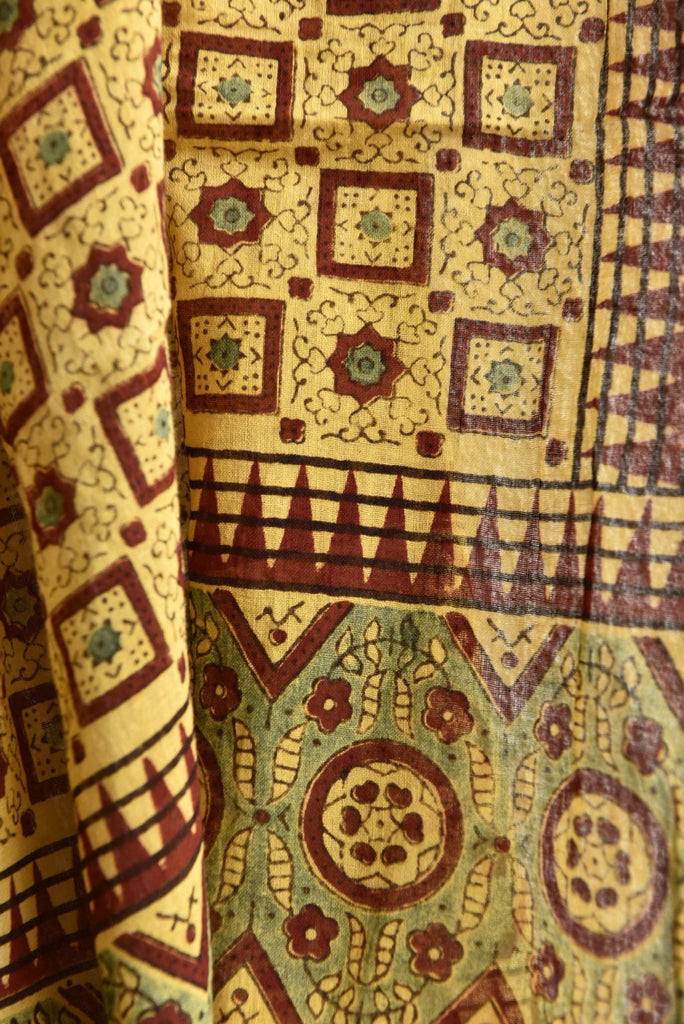 Square and Temples on Yellow Ajrakh Stole