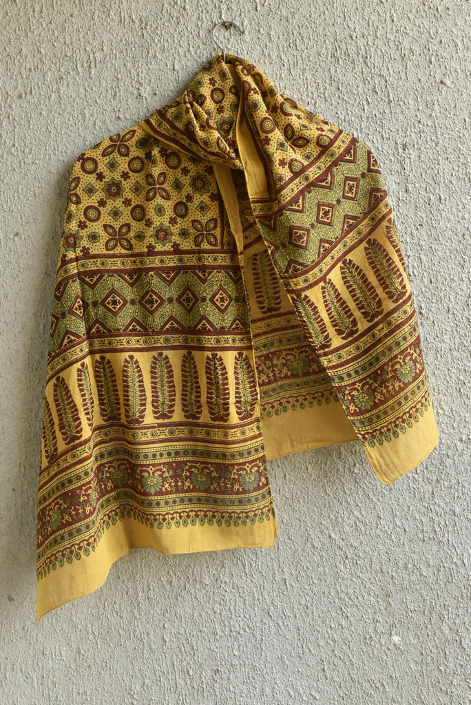 Dotted Geometry on Yellow Ajrakh Stole