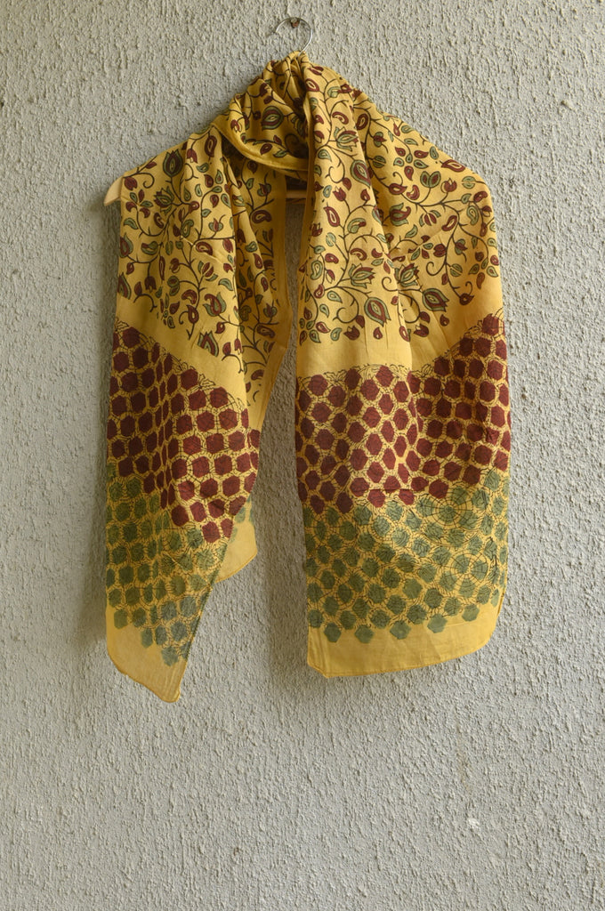 Spring on Yellow Ajrakh Stole