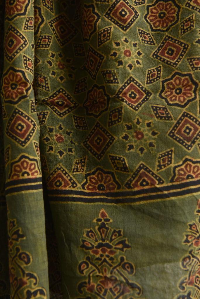 Starry Print on Green Ajrakh Stole