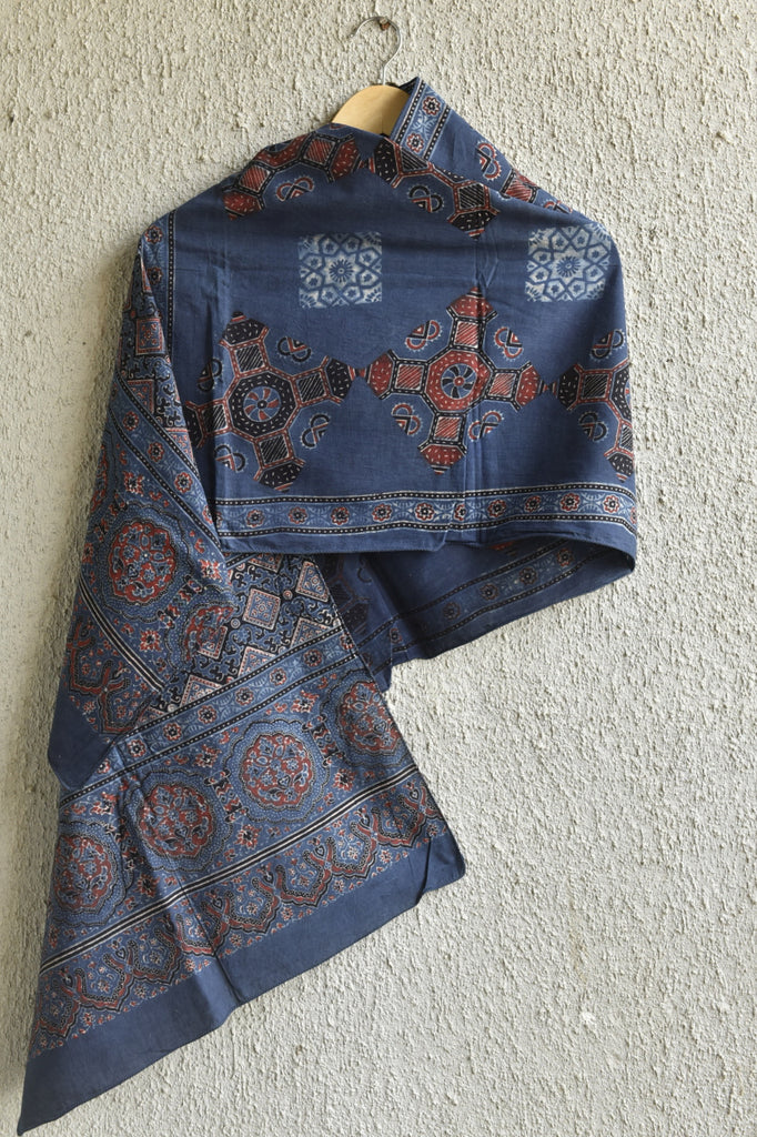 Square Patch on Indigo Ajrakh Stole