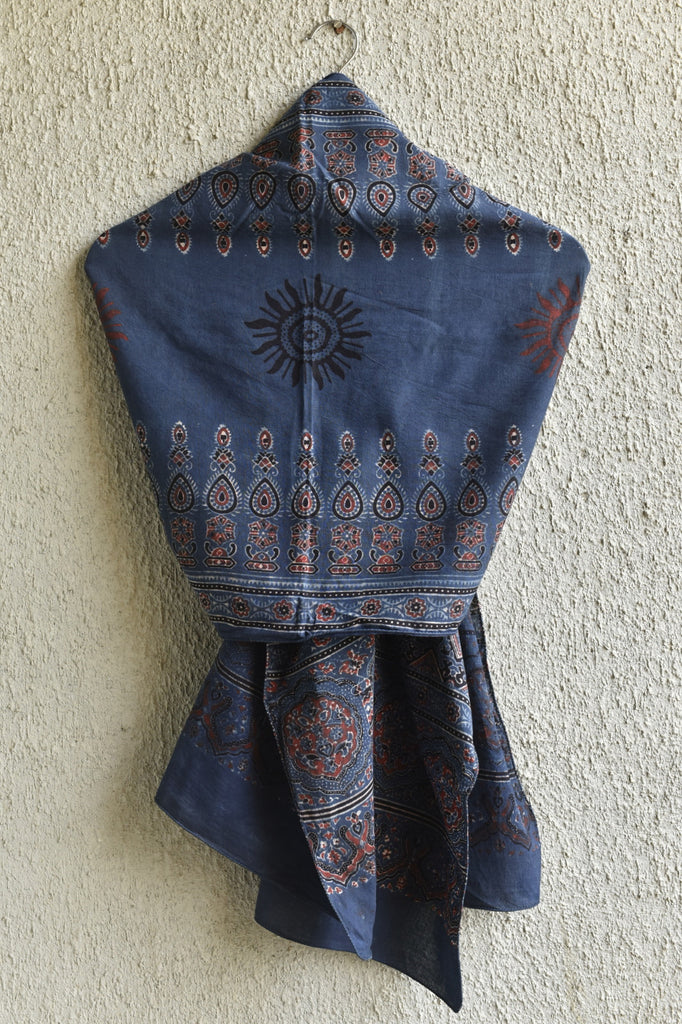 Sun on Indigo Ajrakh Stole