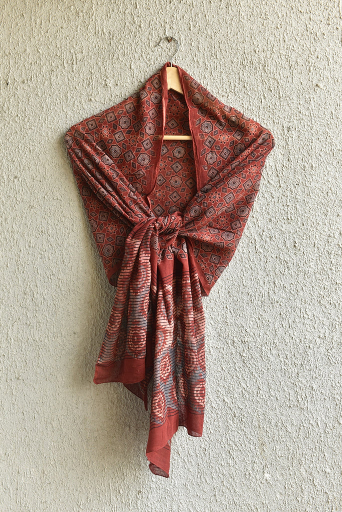 Stars and peepal leaves on Red Ajrakh Stole