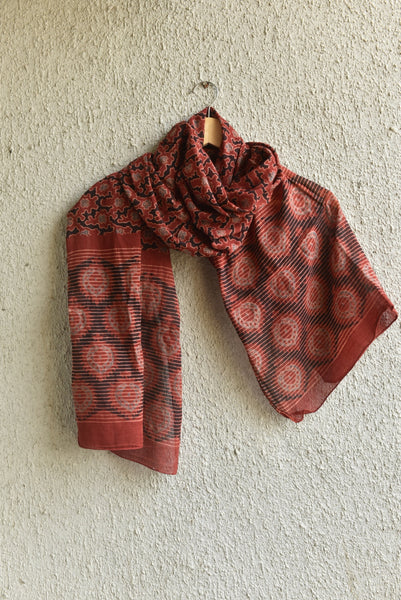 Dreamy Print on Red Ajrakh Stole