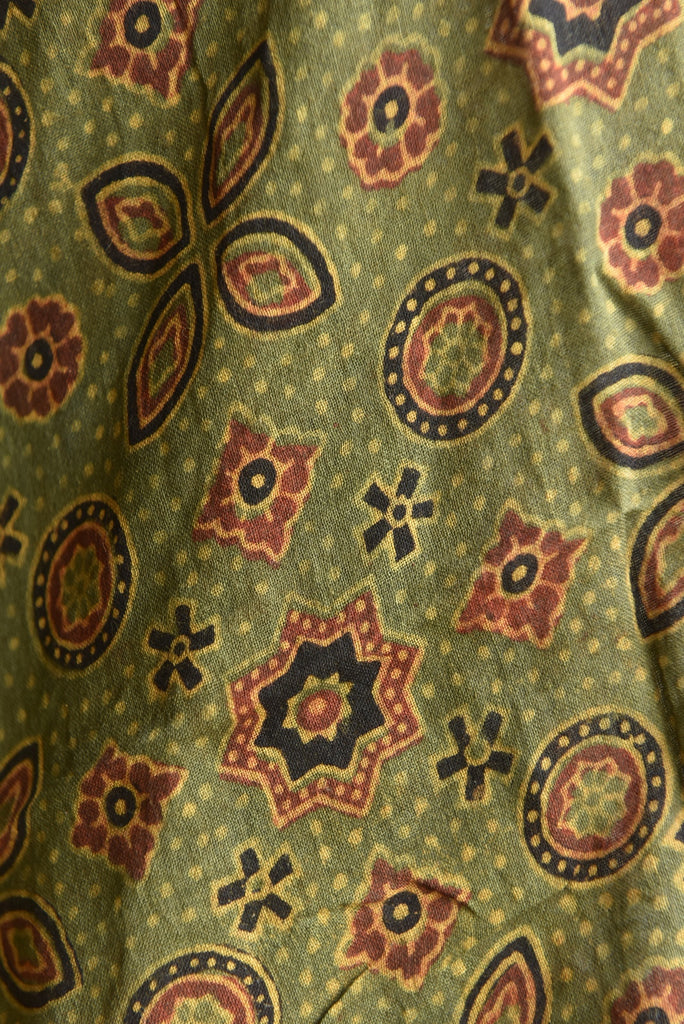 Geometry with Asopalav Tree Print on Green Ajrakh Stole