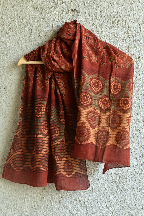 Creeper with Peepal Leaf on Red Ajrakh Stole