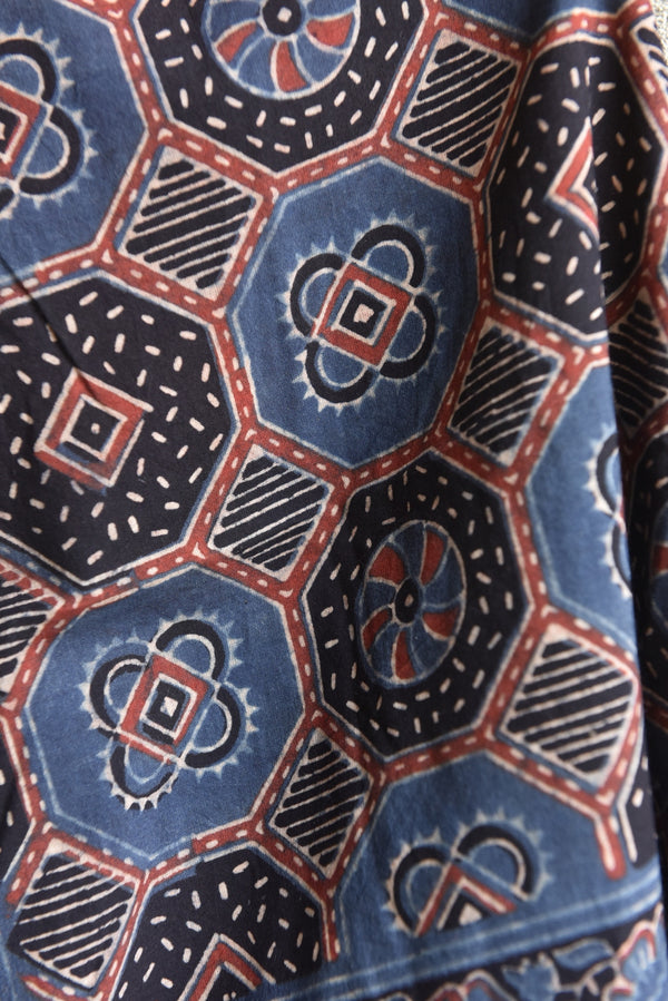 Hexagons on Blue Ajrakh Stole