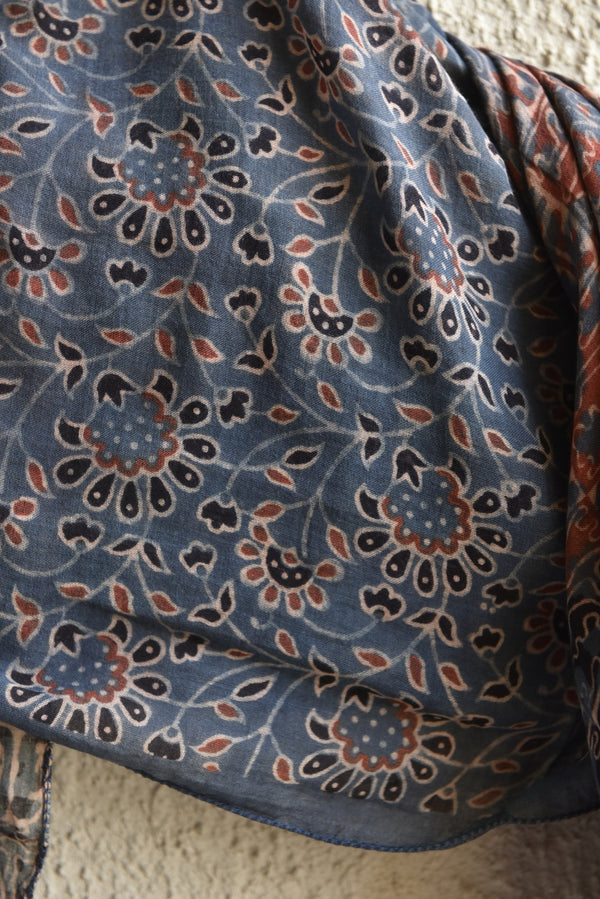 Floral pattern with Maze on Blue Ajrakh Stole