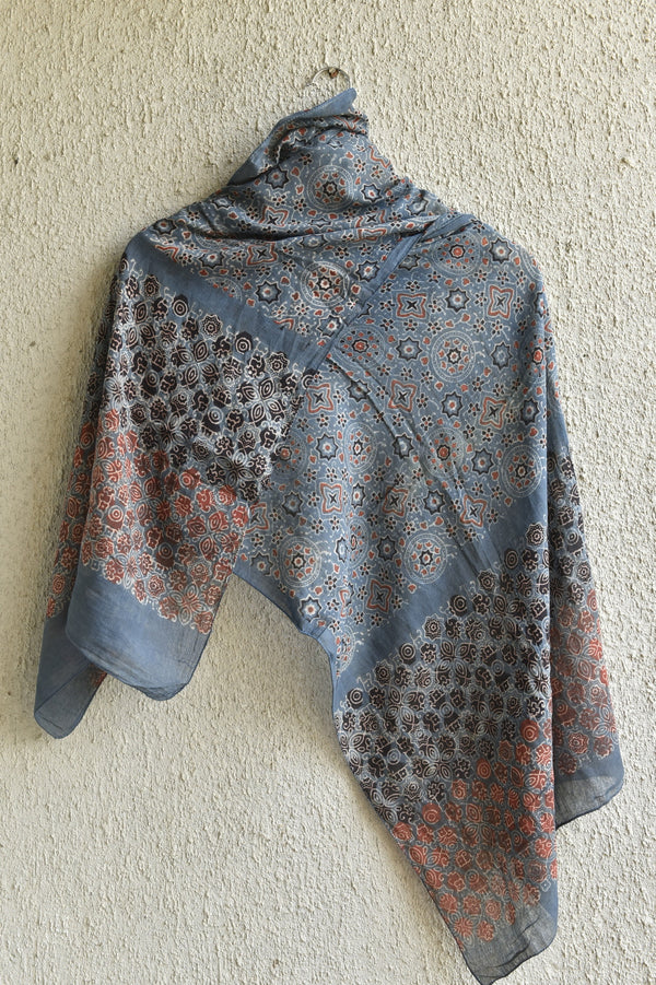Stars and Moons on Indigo Ajrakh Stole
