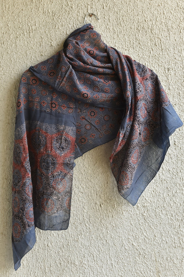 Stars, Moons and Tulip print on Indigo Ajrakh Stole