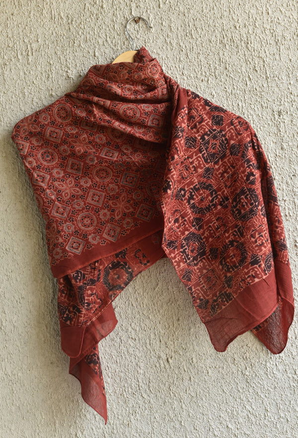 Stars, Moons and Maze print on Red Ajrakh Stole
