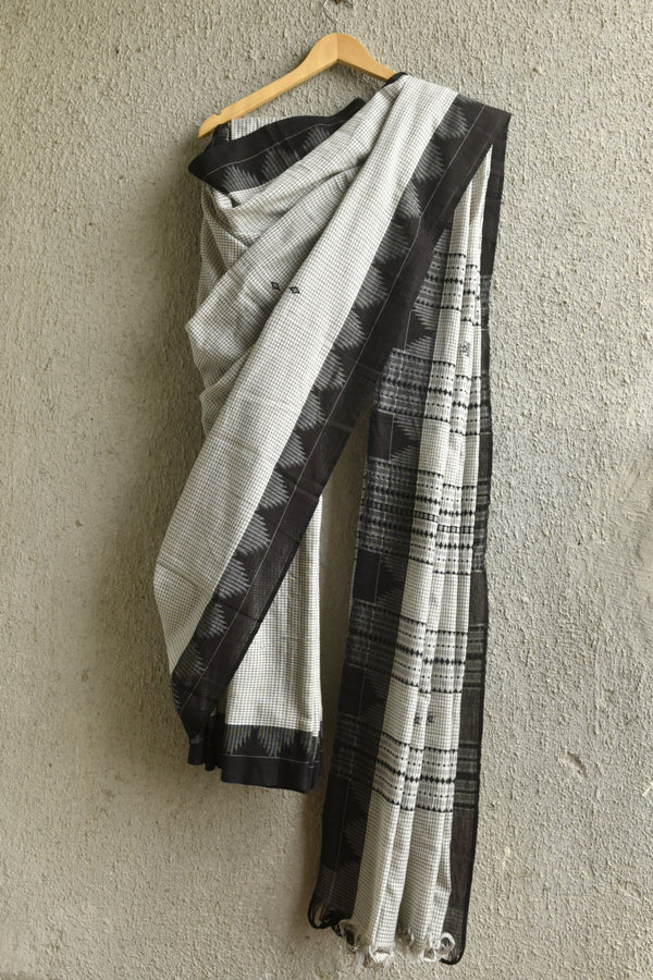 White Checkered Koraput Saree