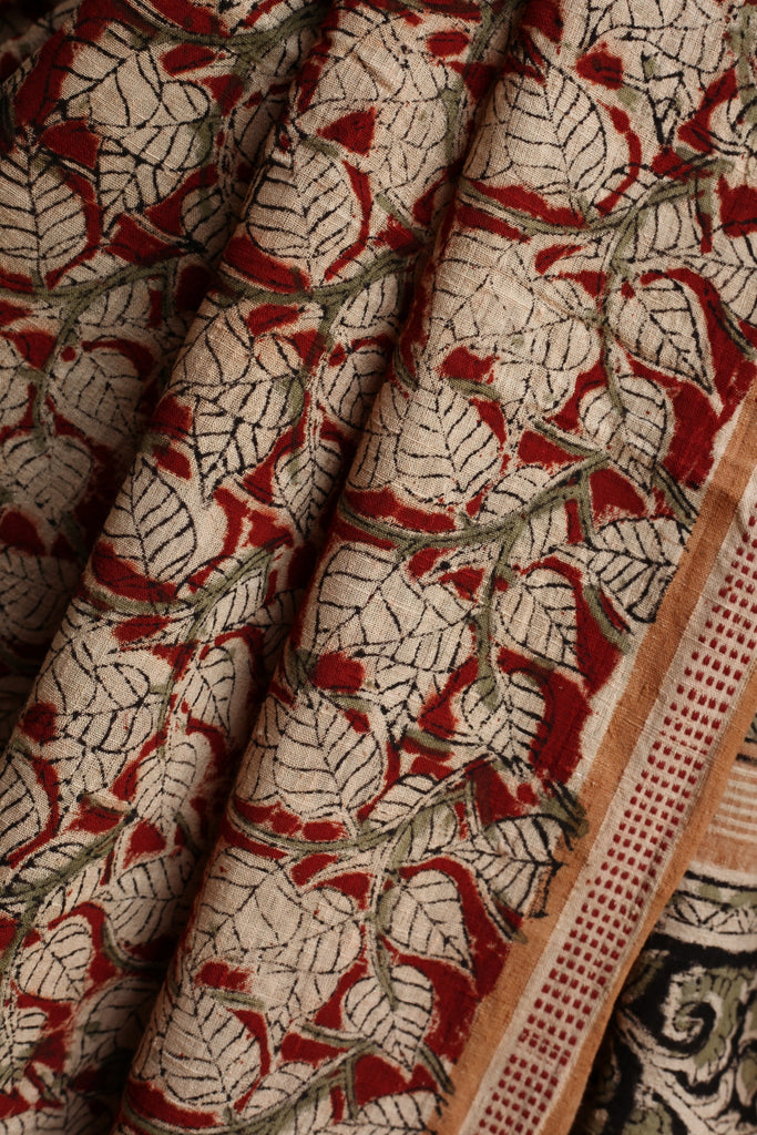 White Peepal Leaves on Red Malkha Saree