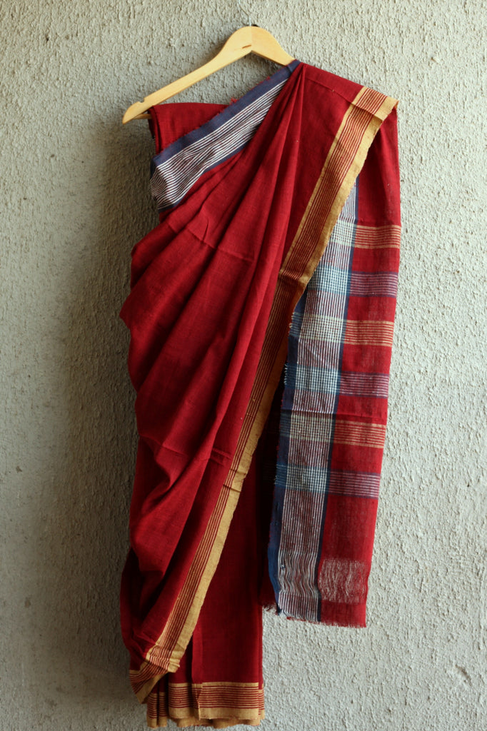 Ganga Jamuna Plain Red Saree