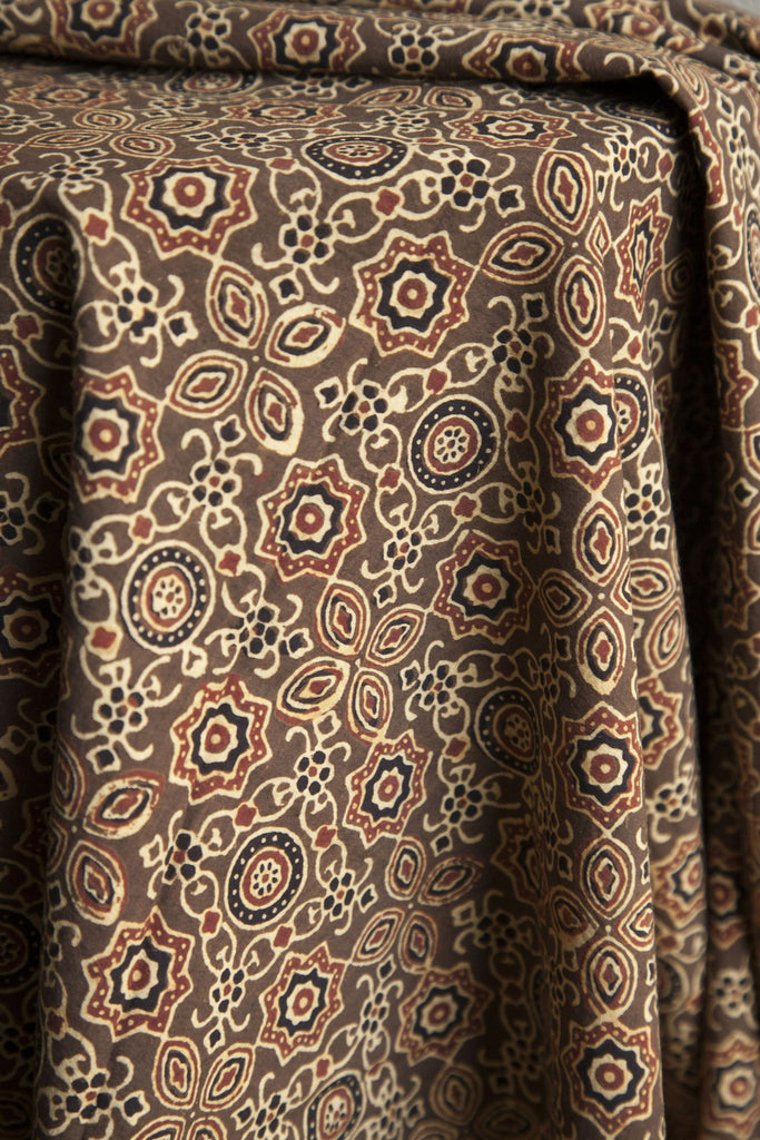 Brown Natural Dye Ajrakh Print (per meter)
