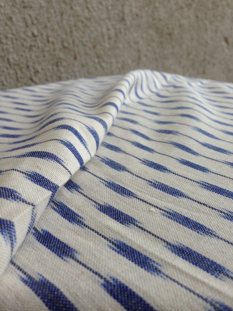 Handwoven Ikat White and Blue (per meter)